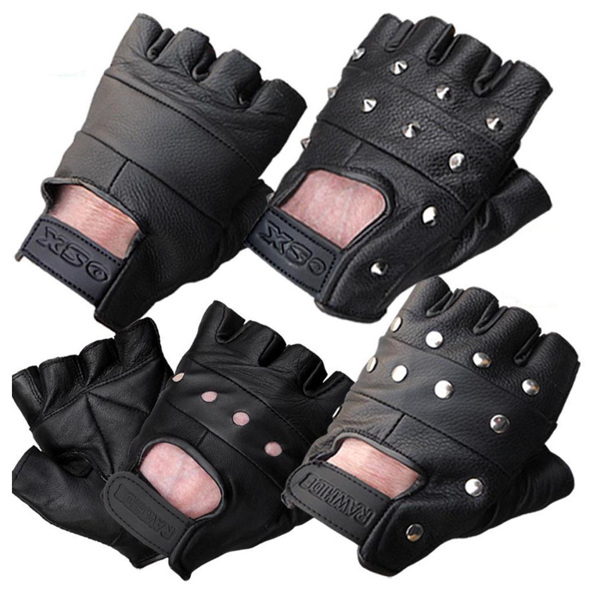 Fingerless driving gloves ebay - Availability In Stock Leather Fingerless Gloves Biker Driving