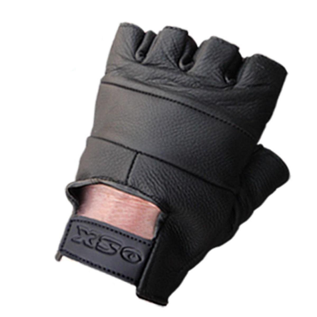 Weight Lifting Gloves Xxl: LEATHER FINGERLESS GLOVES BIKER DRIVING CYCLING WHEELCHAIR