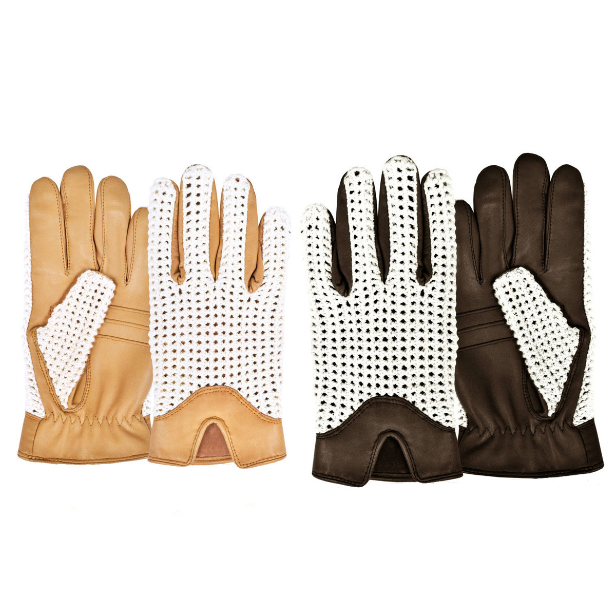 MEN'S LEATHER CHAUFFEUR DRIVING GLOVES MOTORBIKE BIKE BUS CLASSIC RETRO STYLE