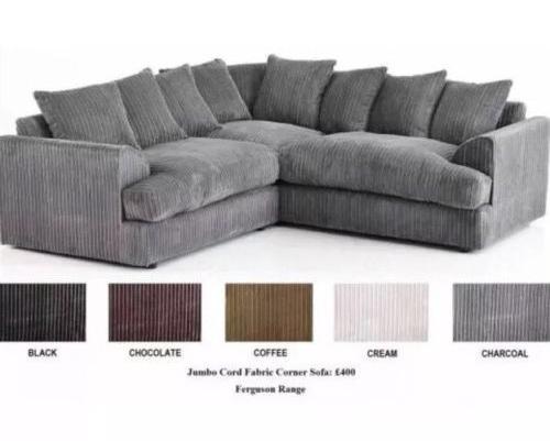 Sale Ferguson Jumbo Cord Corner Sofa Suite Black Cream Coffee Grey Brown Sale Ebay